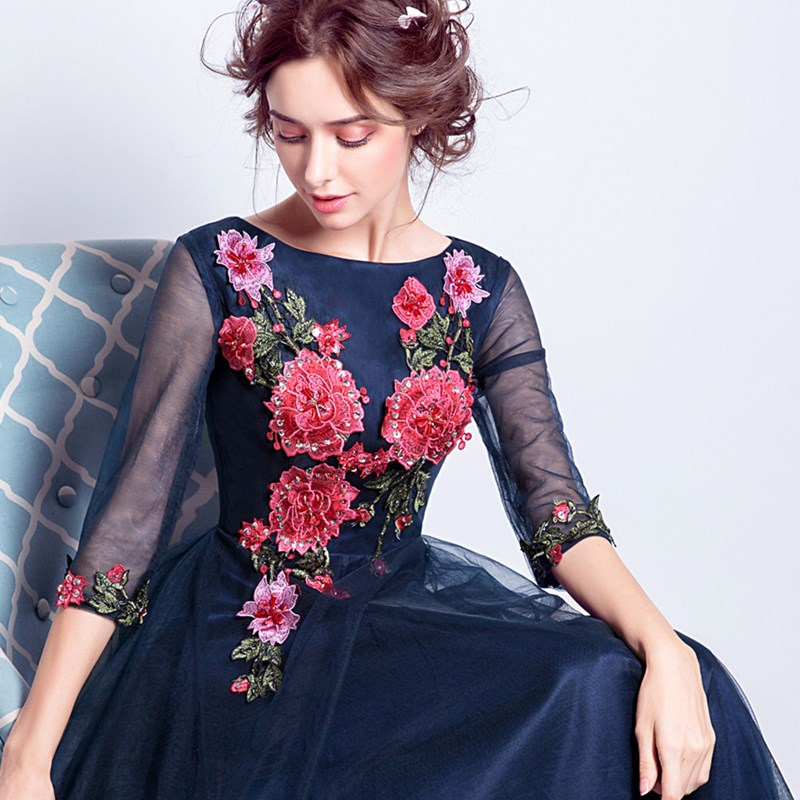 ruthshen Elegant Prom Dresses 2018 Flowers Emboridery 3 4 Sleeves Evening  Gowns Cheap Ladies Ruched Tulle Formal Dress-in Evening Dresses from  Weddings ... aff300bde4a8