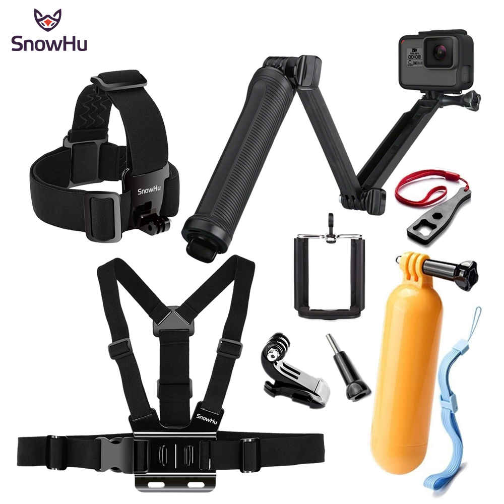 SnowHu for Gopro Accessories Tripod 3 Way Monopod Mount Extension Arm Tripod for Go pro Hero 6 5 4 3+ for xiaomi yi SJ4000 GS66 miniisw m ac universal curved surface mount kit for gopro hero 4 3 3 hero2 hero sj4000 black
