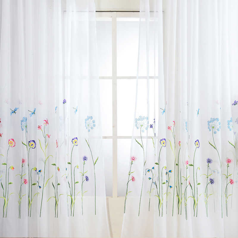 American Embroidered Sheer Curtains for Bedroom Colorful Flowers Tulle Curtains for Living Room The Kitchen Window Curtain Yarn