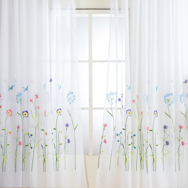 American Embroidered Sheer Curtains for Bedroom Colorful Flowers Tulle Curtains for Living Room The Kitchen Window Curtain Yarn|Curtains|   - title=