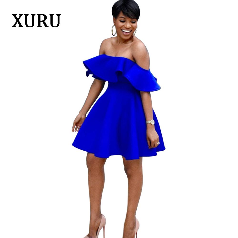 XURU Off Shoulder <font><b>Sexy</b></font> <font><b>Dress</b></font> Women Slash Neck Ruffles A-Line <font><b>Dresses</b></font> <font><b>Red</b></font> Blue Black Strapless Solid <font><b>Dress</b></font> Elegant Party Wear image