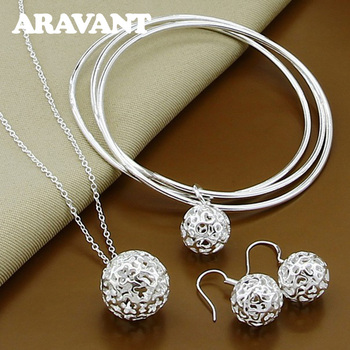 Women Jewelry Sets 925 Silver Tennis Pendant Necklaces Bangles Drop Earrings Set Ladies Party Jewelry