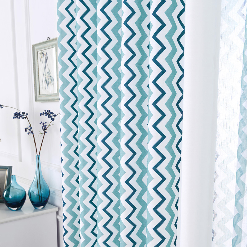 Nordic Wind Curtains For Bedroom Living Room Simple And Fresh Geometry Modern Stripe Cotton Linen Curtain Window Screen Waves