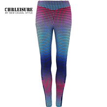 CHRLEISURE Gradient Color Leggings Women 2018 V Waist Printing Ankle-Length Pants Quick-drying Push Up Girls Legging