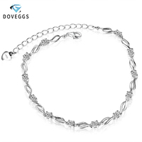 DovEggs Sterling 925 Bracelets Platinum Plated Silver 12 Pieces 3MM GH Color Moissanite Bracelets for Women Luxury Gift