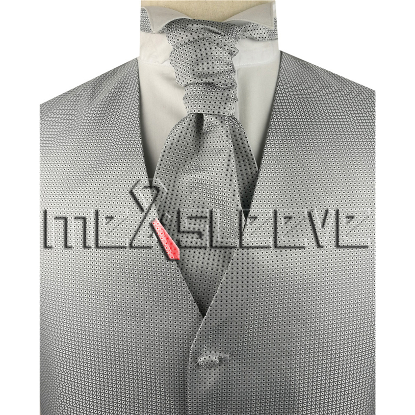 Wholesale Men's Suit Tuxedo Dress silver with black dot Vest and ascot tie Set