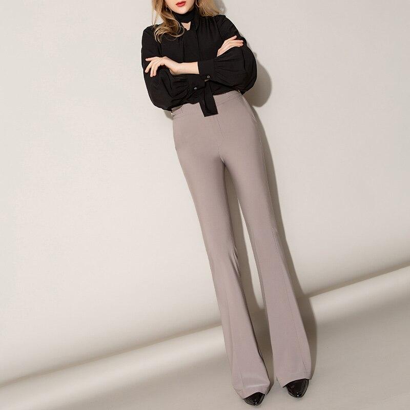 Flare   Pants   Female Long   Pants   2019 Spring New Slim High Waist Fishtail   Wide     Leg     Pants   Harajuku Streetwear Trousers Women