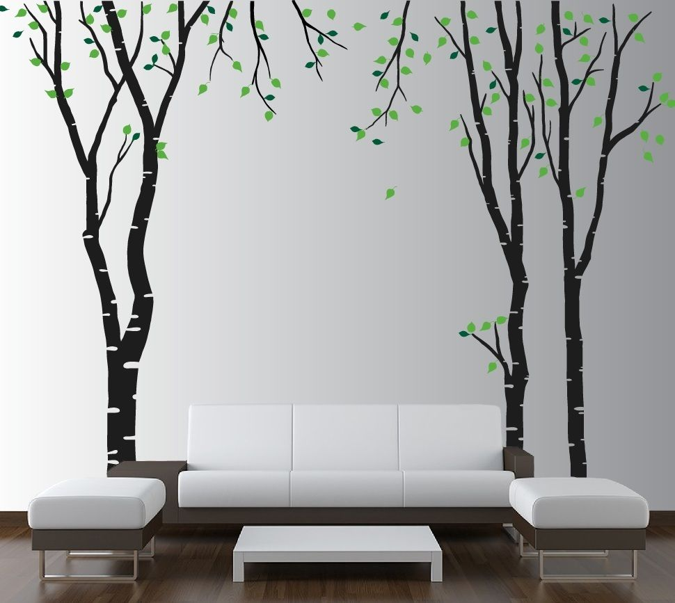 Wallpaper Decal: Large Wall Birch Tree Decal Forest Kids Vinyl Sticker
