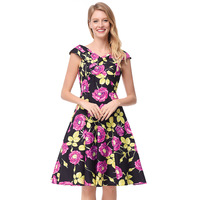 Cross border women's image on the new cross word collar sleeveless zipper dress retro rose print dress Free Shipping