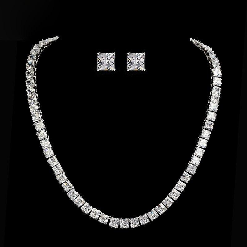 SLBRIDAL Top Quality Sparkling Wedding Cubic Zirconia Necklace Set Bridal CZ Jewelry set Bridesmaids Women Jewelry Accessories