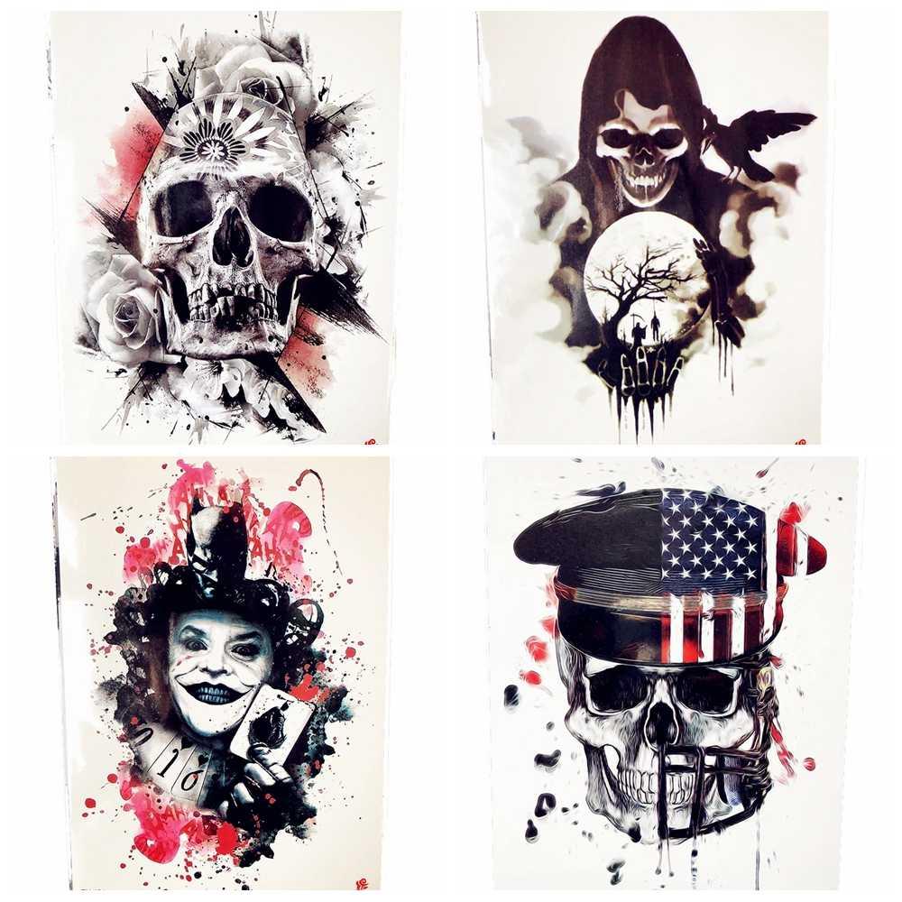 Halloween Joker Card.Halloween Horrifying Demon Temporary Tattoo Women Chest Joker