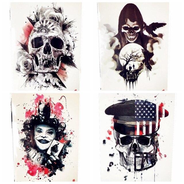 Halloween Horrifying Demon Temporary Tattoo Women Chest Joker Magician  Tattoo Stickers Leg Waist Black Poker Cards