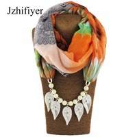 Jzhifiyer Scarf Lady Fashion Leaf Pendant Necklace Scarf Jewellery Viscose Cotton Print Women Shawls Hijabs Pareo