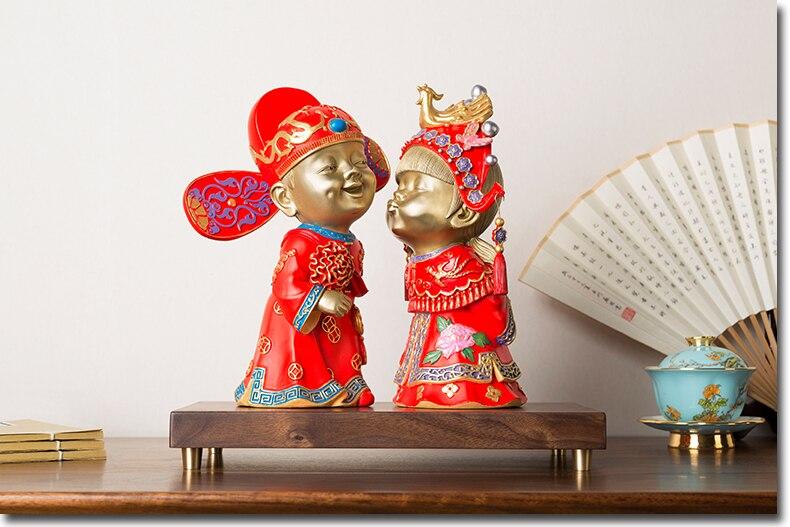 Большой уникальный домашний Свадебный высококлассный подарок декор искусство азиатская Праздничная Невеста благоприятный талисман латун
