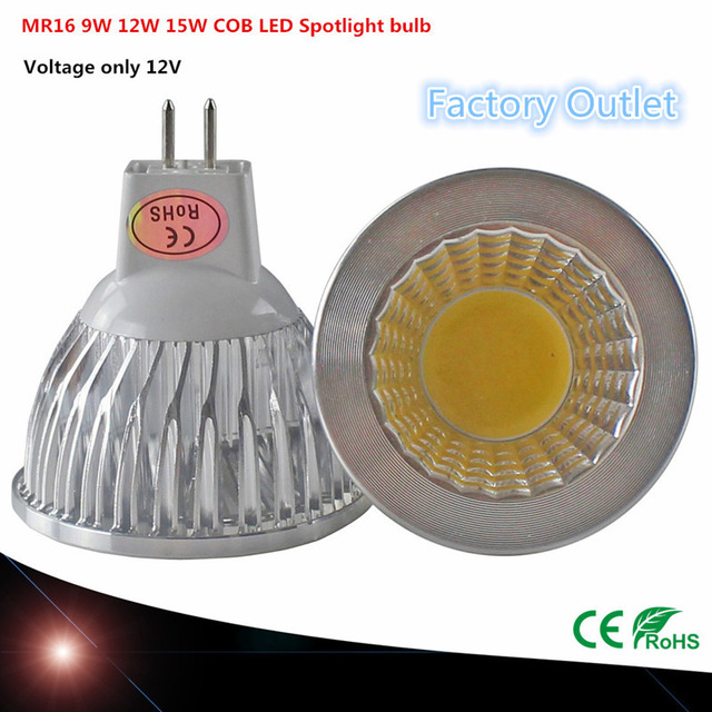 1pcs Super Bright LED MR16 COB 9W 12W 15W LED Bulb Lamp MR16 12V Warm White/Pure/Cold White Led BULB LIGHTING
