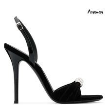 Aiyoway Women Shoes Peep Toe High Heels Sandals Back Strap Elegant Ladies Spring Summer Party Dress Shoes Black Red Velvet цены онлайн