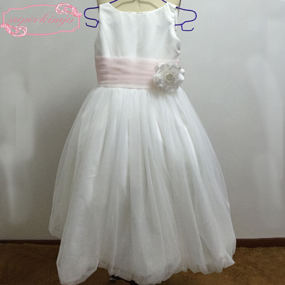 Real Picture Little   Girls   Party   Dresses   Hand Made   Flowers   Tulle White Little   Flower     Girls     Dresses