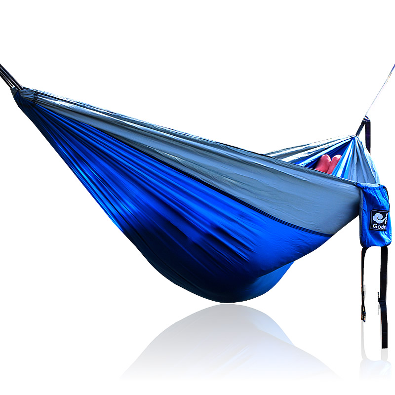 Rhombus lattices Blue Gray Nylon Hammock 260*140cm Outdoor furniture Loading 350KG outdoor rhombus embroidery cabbie hat