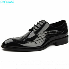 Patent Leather Men Dress Shoes New Brand Mens Business Italian Style Fashion Wedding Formal Brogue Shoe