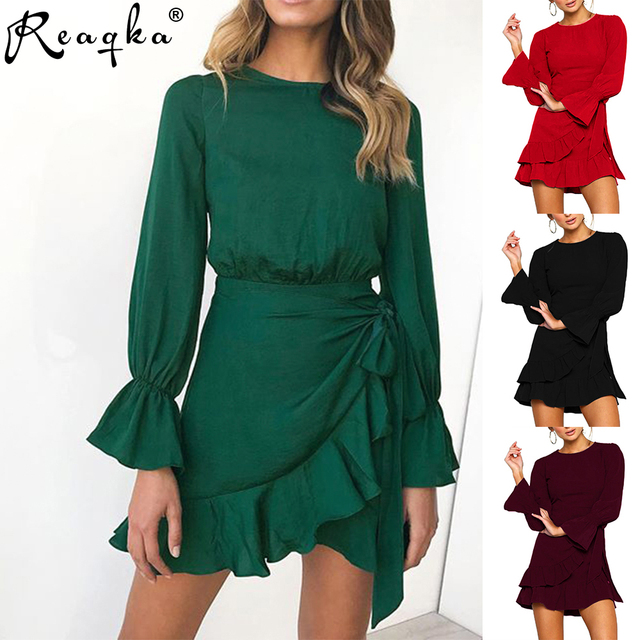 2019 New Arrivals Solid Color Pagoda Full Sleeve Dresses Pleated Chiffon Black Red Green Summer Dress for Women