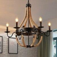 Винтажный Лофт промышленный в стиле ретро для творческой личности веревка Подвесные светильники ресторан лампа столовая люстра пеньковая