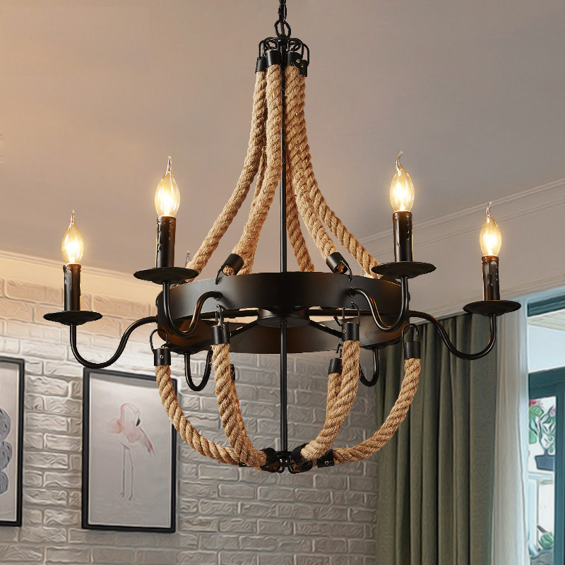 Vintage Loft Industrial Retro Creative Personality Rope Pendant Lights Restaurant Lamp Dining room pendant lamps hemp rope light new style vintage e27 pendant lights industrial retro pendant lamps dining room lamp restaurant bar counter attic lighting