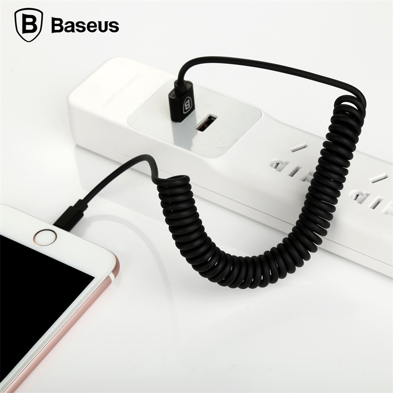 Baseus Retractable Spring 8pin Charging Cable Data Sync USB Charger Cable For iPhone <font><b>X</b></font> <font><b>8</b></font> 7 6 <font><b>5</b></font> iPad IOS <font><b>9</b></font> 10 11 Data Sync Cable