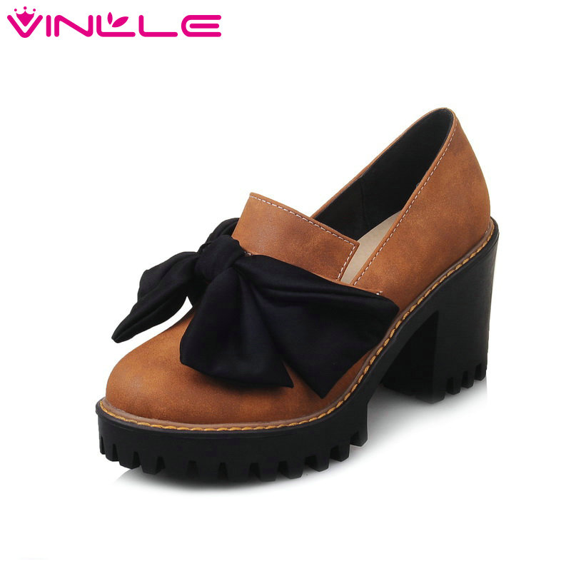 VINLLE 2017 Women Pumps Sweet Style Square Heels Platform Spring Autumn Casual Bow Tie High-heel Wedding Shoes Black Size 34-43 vinlle 2017 women pumps college style square med heel vintage slip on pu leather shoes casual round toe girl shoes size 34 40