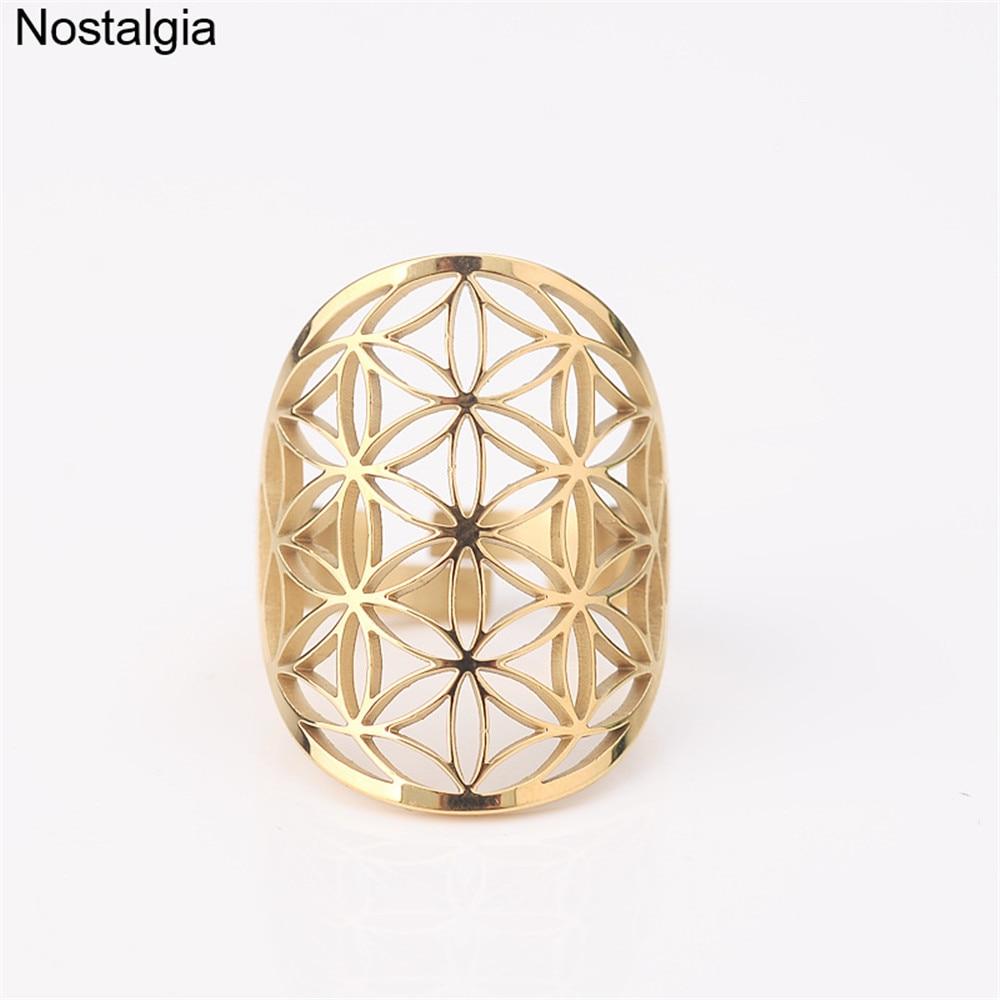 Регулируемое кольцо из нержавеющей стали с изображением цветка жизни полые украшения с геометрическим рисунком для женщин и мужчин