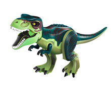 лучшая цена 10PCS/LOT Green Tyrannosaurus Rex Dinosaur Jurassic World Park Bricks Model Building Blocks Toys For Children