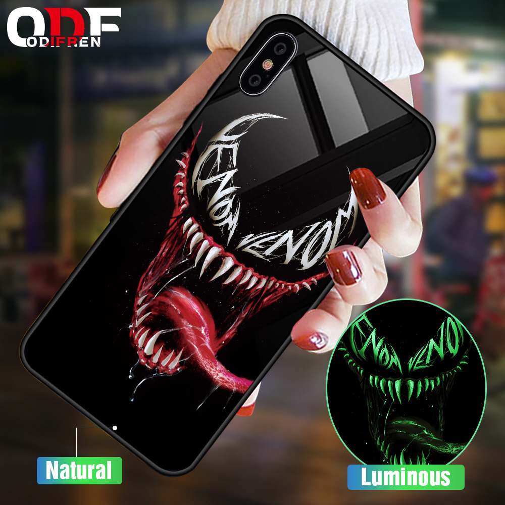 Marvel Venom Luminous Luxury Case For iPhone X Xs Max Xs Animal Glass Silicone Phone Case For iPhone 7 8 6 S 6s Plus Cover Coque чехлы марвел