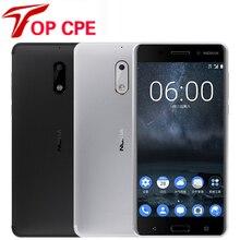 Мобильный телефон Nokia 6 LTE 4G, 4G RAM, 1080 P, две sim-карты, Android 7,0, Восьмиядерный, 5,5 дюймов, 16,0 Мп, отремонтированный смартфон с отпечатком пальца