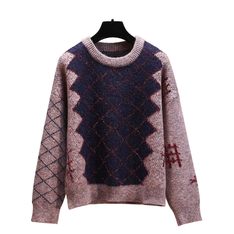 2019 New Autumn Women Fashion Sweater Causal Patchwork O-neck Argyle Long Sleeve Pullover Female Plus Size Lurex Sweater