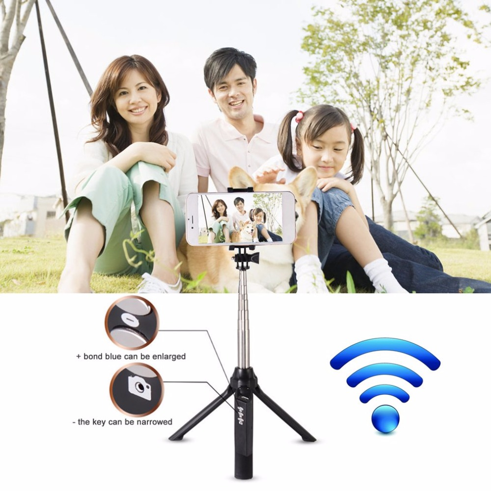 Handheld Mini Tripod 3 in 1 Self-portrait Monopod Phone Selfie Stick With Bluetooth Remote Shutter For Smart Phones Cameras