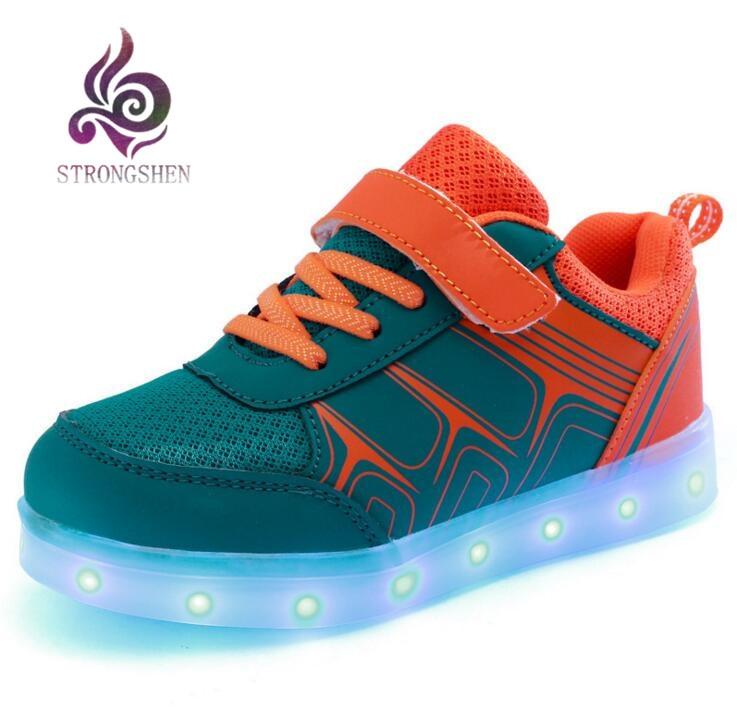 STRONGSHEN USB lade Kinder Sneakers Mode Leuchtende Beleuchtete Bunte - Kinderschuhe