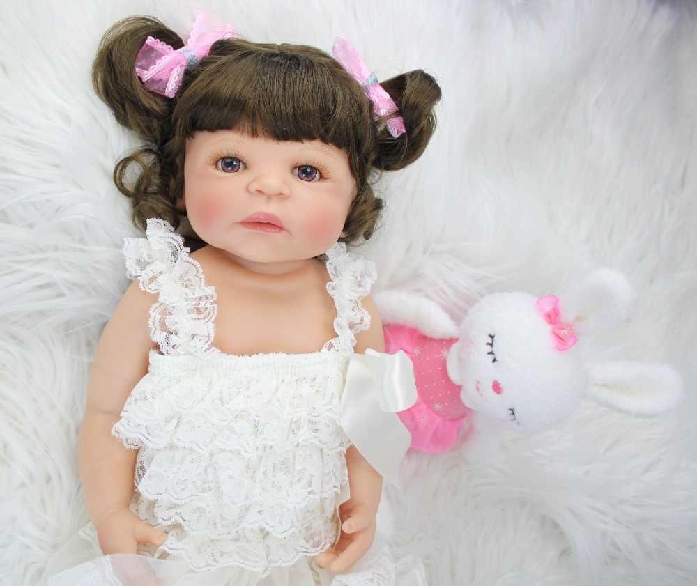 55 см полностью силиконовая виниловая кукла живой ребенок игрушки Новорожденные принцесса Младенцы Bebe кукла девочки Bonecas подарок на день рождения ребенок