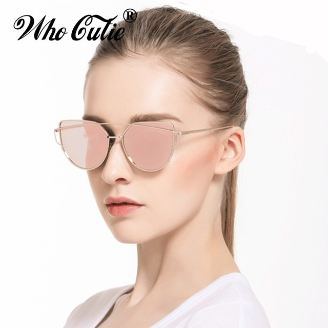 1f603f1b43d WHO CUTIE Love Punch Cat Eye Sunglasses Women Vintage Retro Metal Frame  Reflected Lens Superstar Cateye