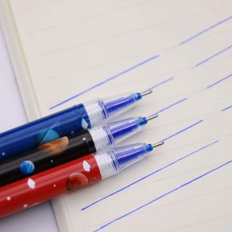 Special Price! 3 Colorful Universe Star Magic Mo Erasable Gel Pen Student Erasable Pen 0.38mm Blue Supplement Material Plastic