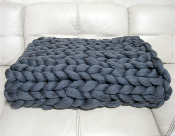 Promo Sale Chunky Knit Blanket Wool Knit Throw Blanket Super Bulky