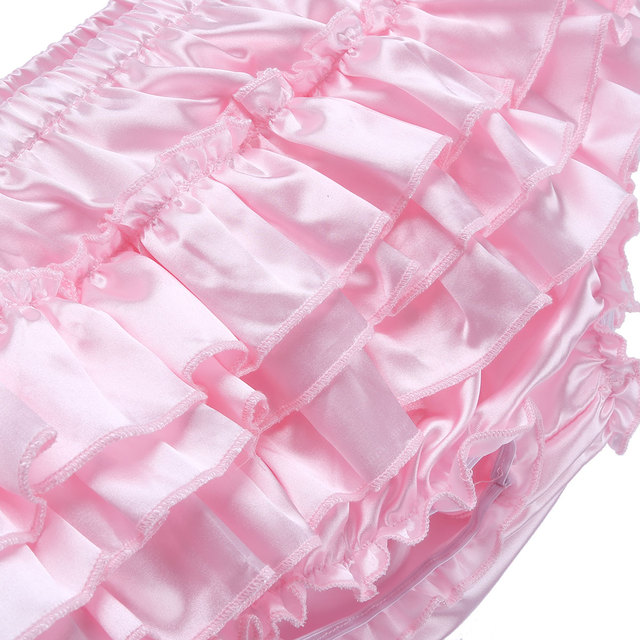 Sissy Skirted Gay Slipje voor Heren Lingerie Night Shiny Satin Ruffled Bloomer Tiered Sexy Slips Bikini Ondergoed Onderbroek