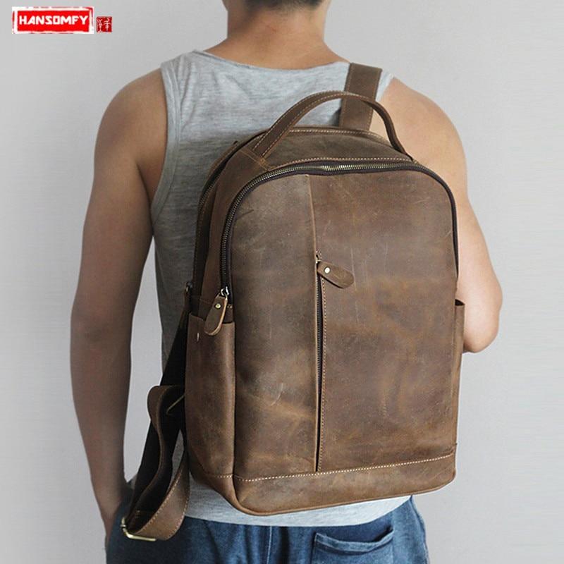 2019 New Men s backpacks Retro Crazy Horse Leather Men 15 Laptop backpack Leisure school bag