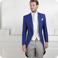 Vintage Royal Blue Tailcoat Men Suits for Wedding Groom Tuxedos 3 Pieces Long Jacket Men's Classic Suit Costume Morning Dinner