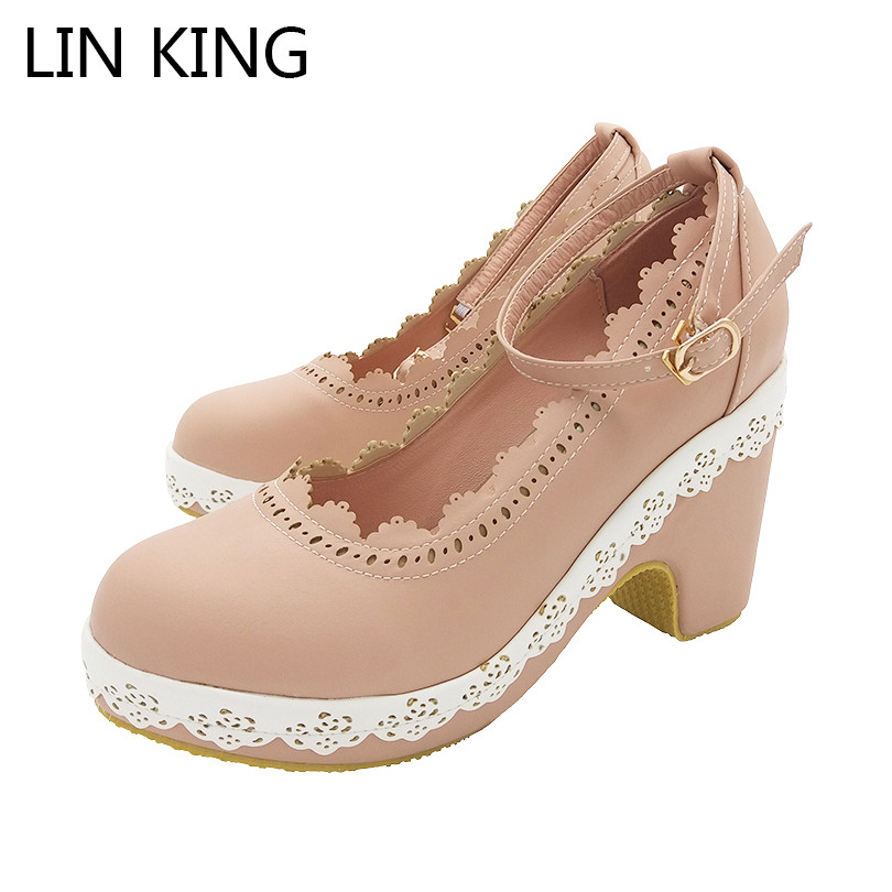 LIN KING Leisure Ankle Strap Women Pumps Square Heel Round Toe Platform Shoes Sweet Lady Pu Floral Buckle Ankle High Heel Shoes lin king casual women platform pumps wedges leather high heel shoes vintage solid slip on gladiator shoes lady round toe shoes