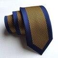 6 cm Moda Seta Gravata Tecida Gravata Azul Beira do Designer Com Pontos de Ouro Amarelo