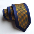 6cm Fashion Arrow Tie Designer's Woven Necktie Blue Border With Yellow Golden Dots