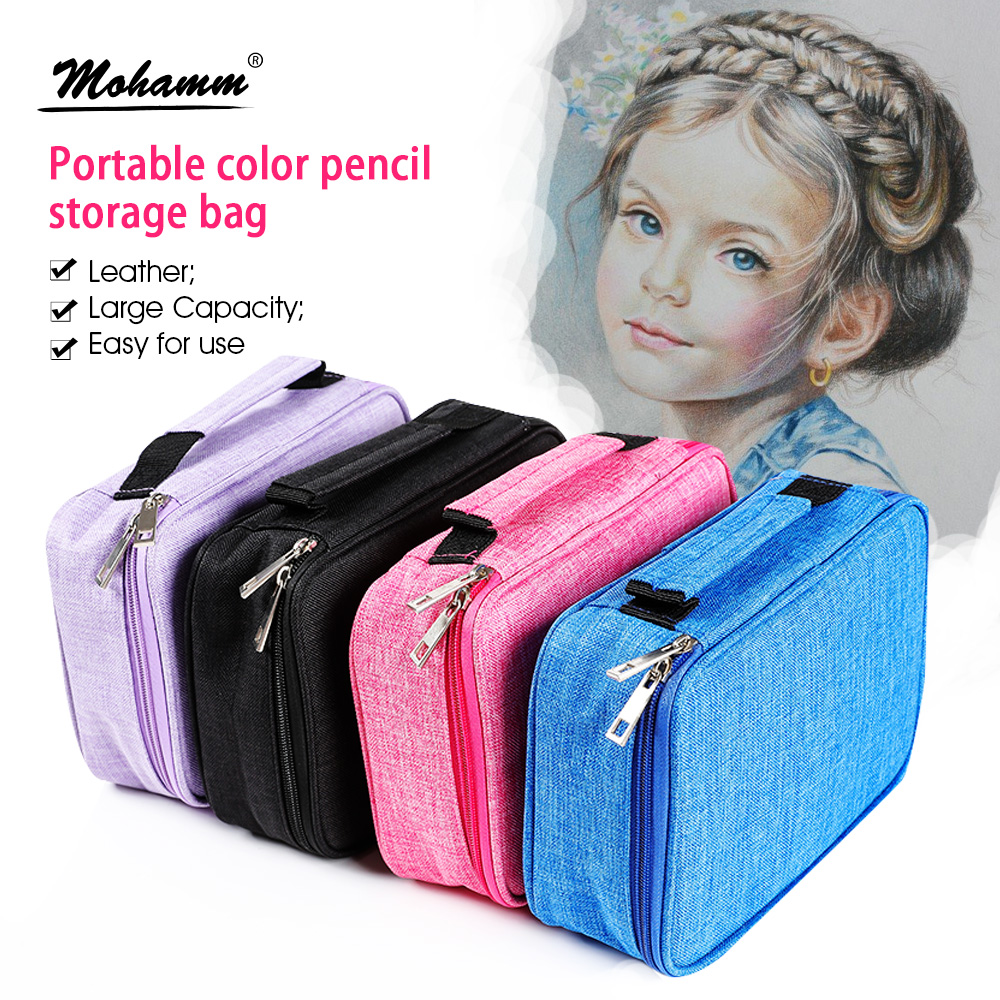 72 Slots Detachable Oxford Canvas School Pencils Case Large Capacity Watercolor Colored Pencil Bag For Student Gift Art Supplies
