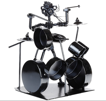 Jazz Drummer Music Producer Iron Play The Drums Creative Craft Ornaments Bar Office Desktop Home Decoration Birthday Gift L237