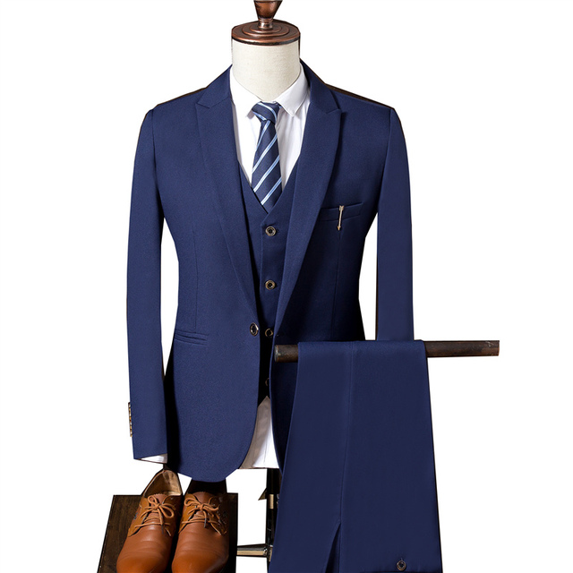 Деловой костюм мужской костюм + брюки + жилет костюм из 3 предметов не гладильная рабочая одежда одноцветное Цвет свадебное платье пиджак пальто тонкий Гент жизни