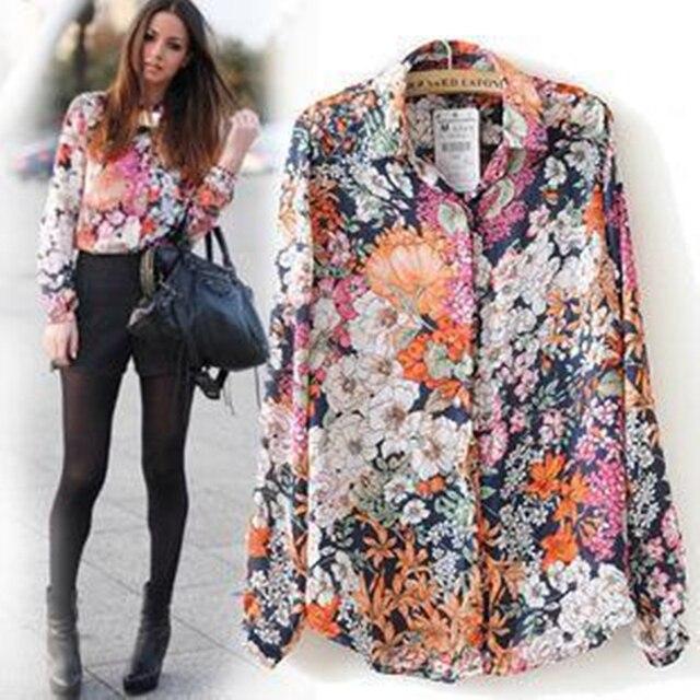 Nouveau 2018 Summer Floral Vintage Spring Imprimer Shirt Femme Manches Longues Mode En Mousseline de Soie Blouses Tops Taille Plus Femme Kimono Blouse
