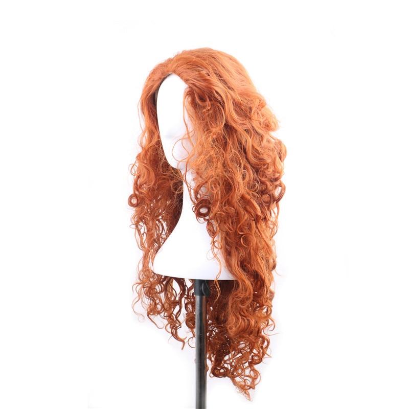 WoodFestival anime peruker för kvinna lång orange peruk vågig - Syntetiskt hår - Foto 3